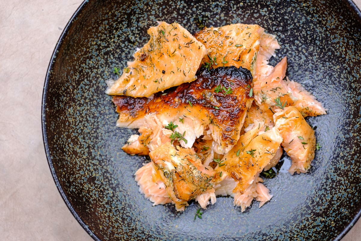 Flamed Salmon Close Up