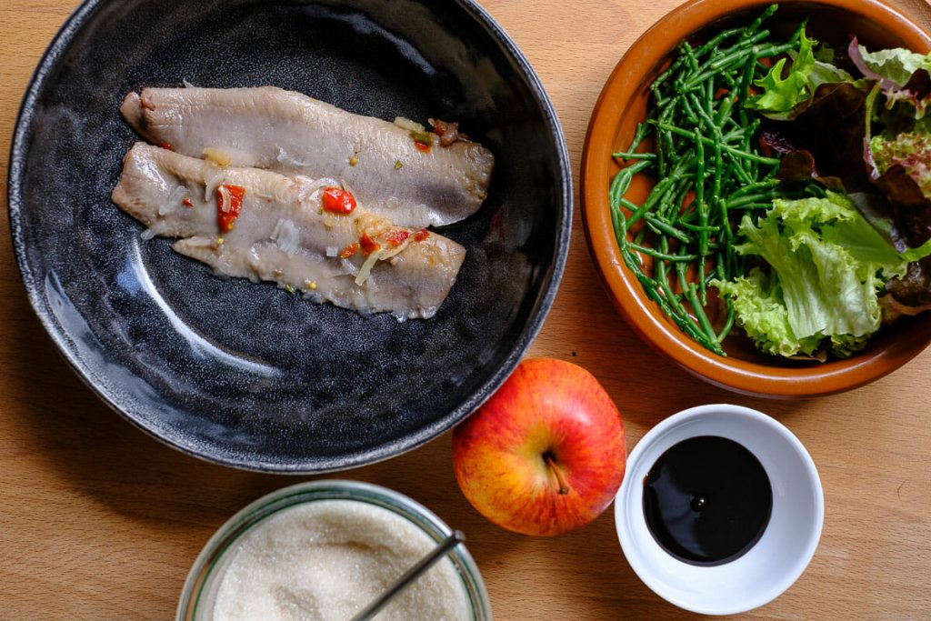 Ingredients Matjes salad with samphire and apple