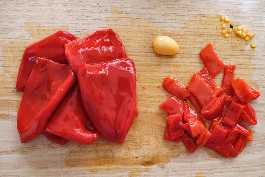 Cut the pickled peppers