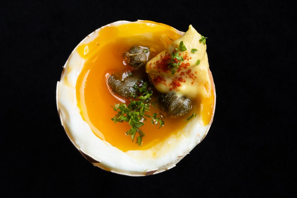 soft boiled egg with mustard