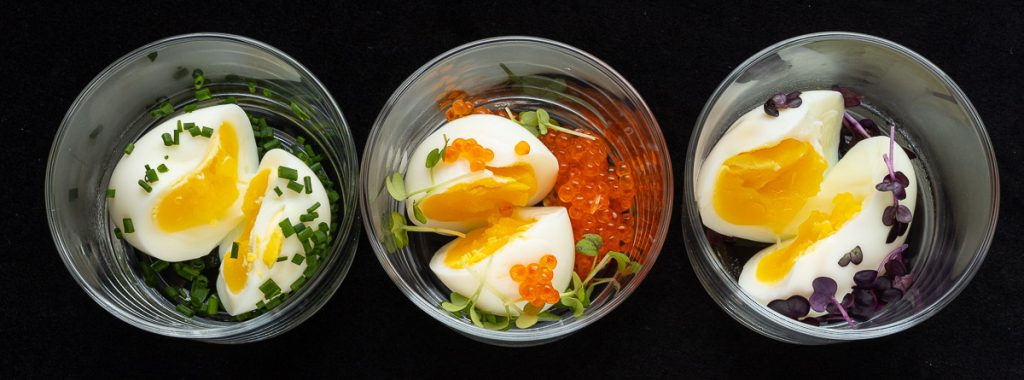 Eggs in glass served in variants