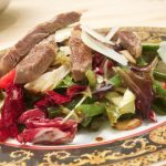 Salad with Beef: Recipe with Video for colorful Leaf Salad with Beef Strips