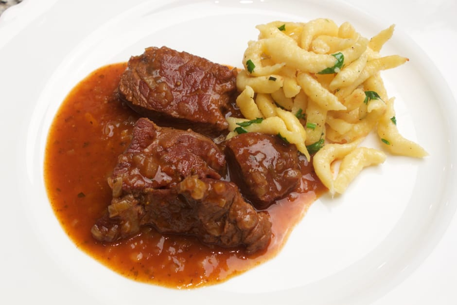 Making your own goulash, German recipe with chef tips and cooking video, step-by-step pictures