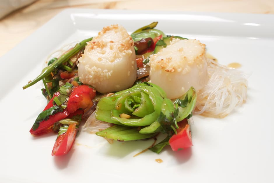 Asian Salad with Glass Noodles and Scallops, Recipe with Cooking Video Instructions