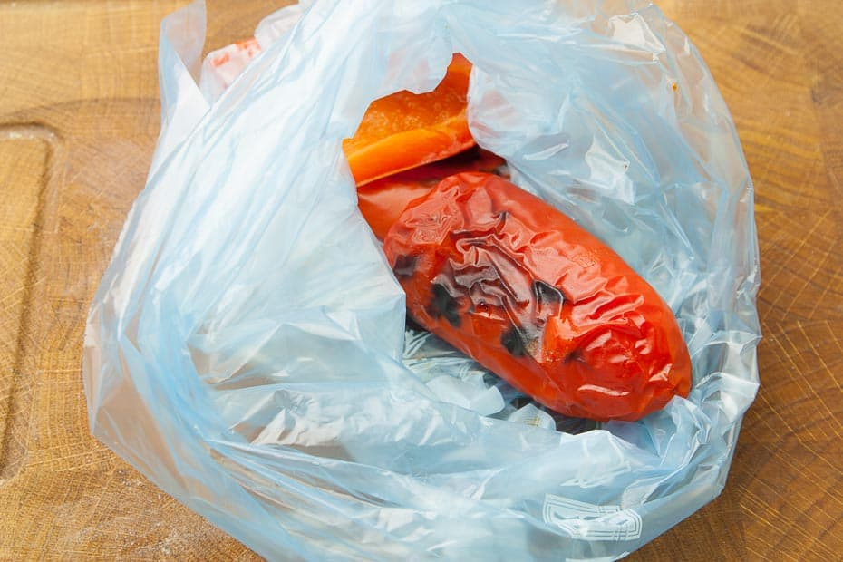 grilled paprika pepper in plastic bag