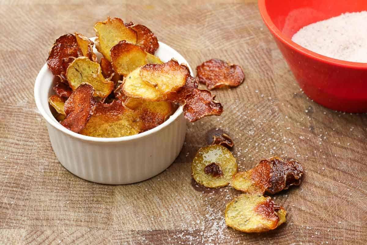 Kartoffelchips als Suppeneinlage