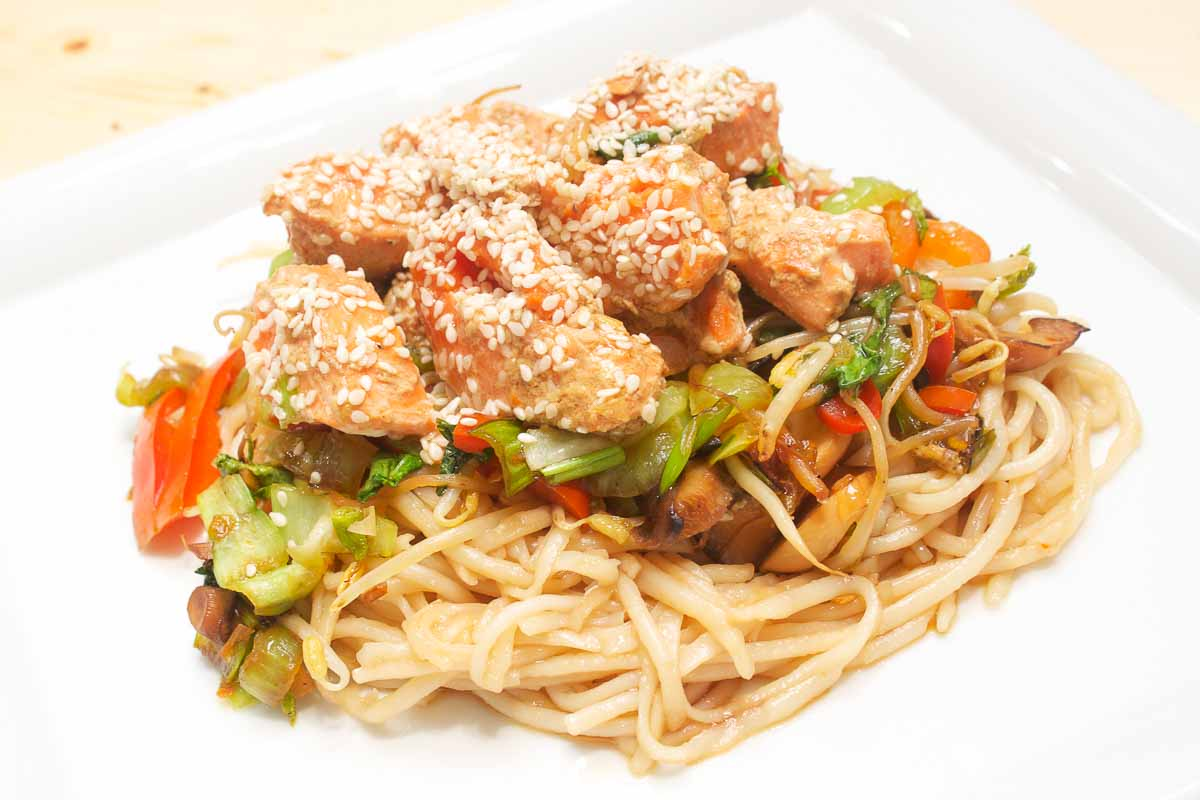 asian salmon wok noodles