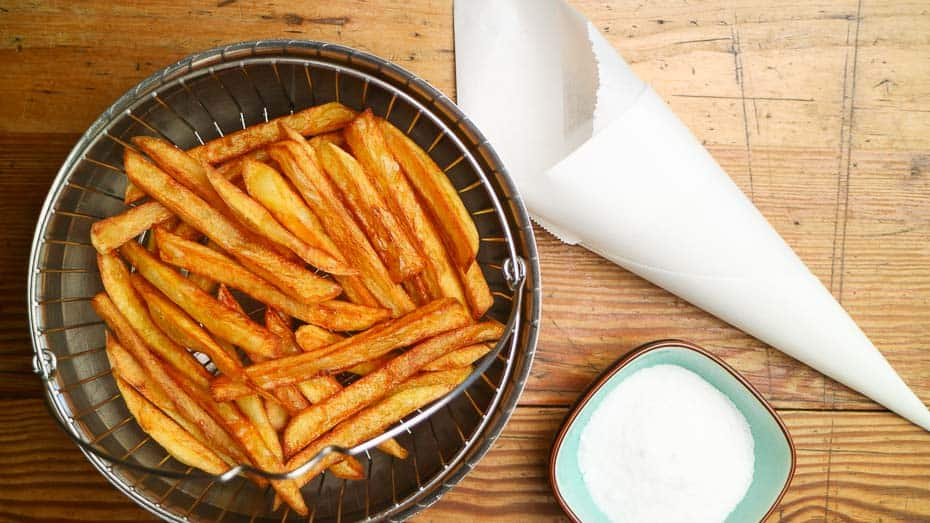 Homemade fries in the bowl