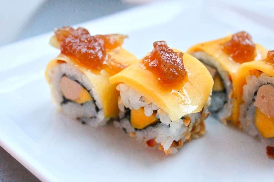 Euro-asiatische küche am beispiel Sushi mit Gänseleber. Danke an Sushi planet Paris und Saint Tropez