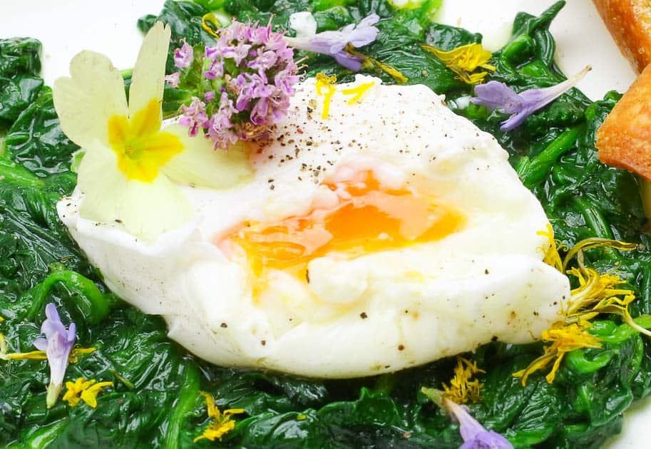 pochiertes Ei mit eigelb nahaufnahme