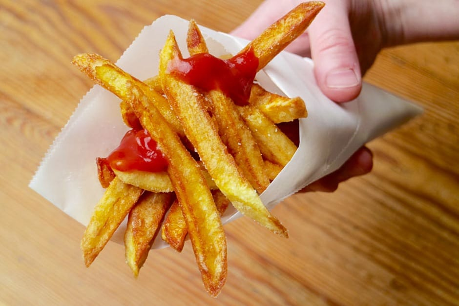 making your own french fries - served in a bag