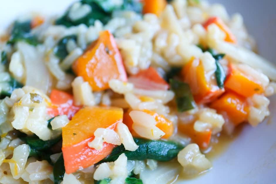 Macroaufnahme Kürbisrisotto mit Spinat Foodbild ©Thomas Sixt