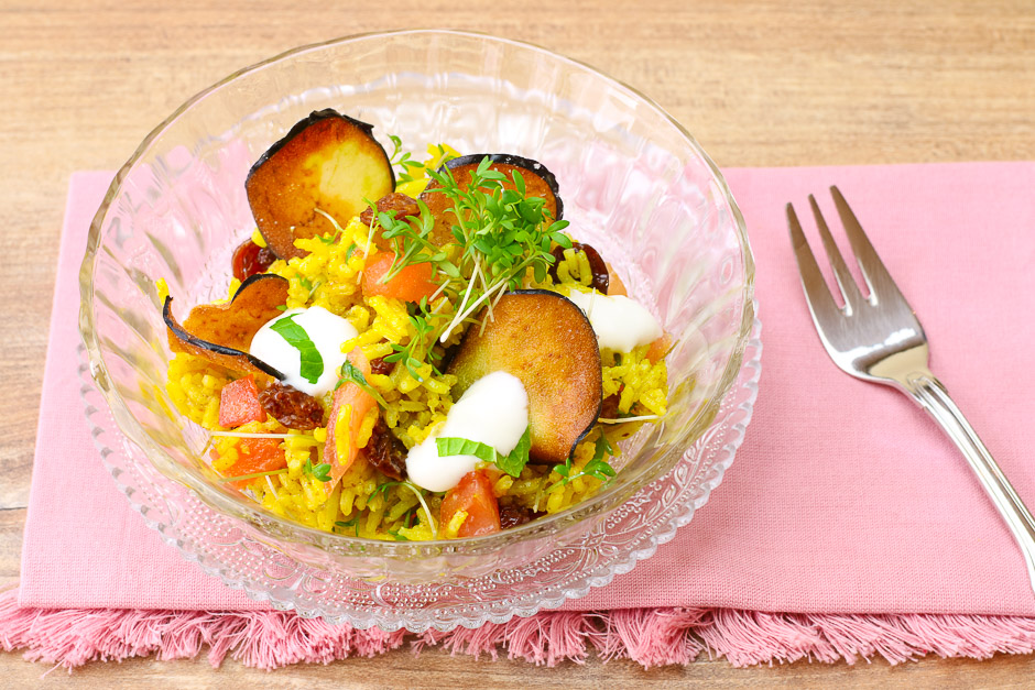 curry rice with vegetables and cress Recipe picture ©Thomas Sixt Food Art and Photographer