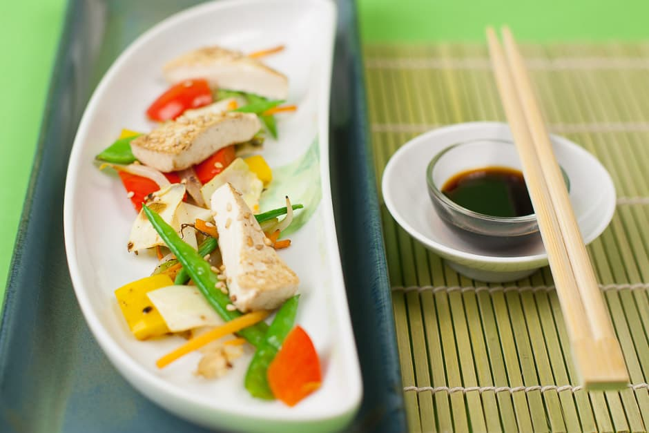 pan-fried vegetables with tofu and sesame and soy sauce