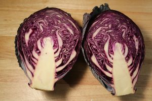 blue cabbage - red cabbage halved