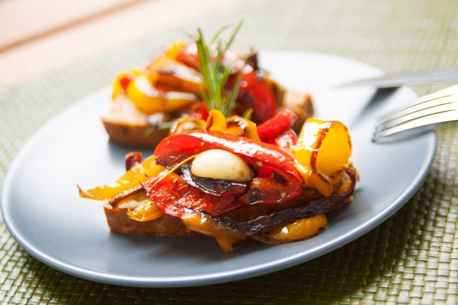 Mediterranean Vegetables on Crostini