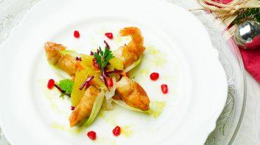 Rezeptbild für Weihnachtliche Vorspeisen mit Garnele oder Tofu auf winterlichem Salat und Wasabi dip