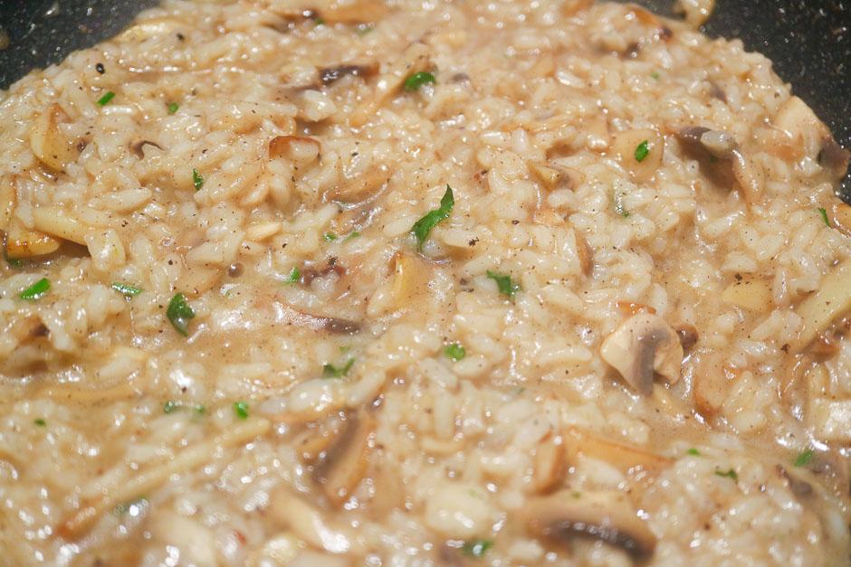 Champigons risotto in pot