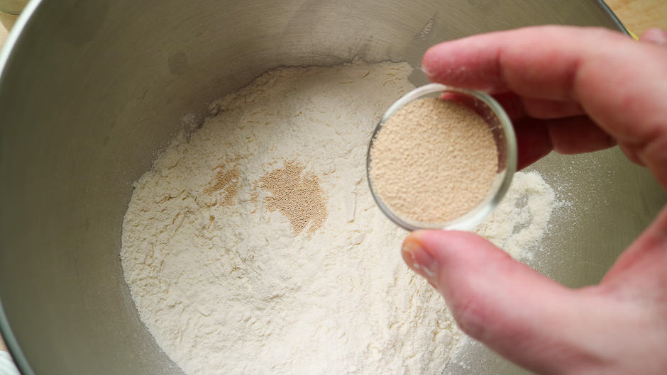 Flour and yeast for doughnut yeast dough