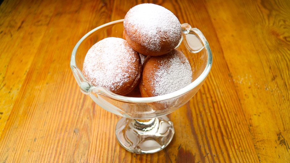 german doughnut named Krapfen or Faschingskrapfen