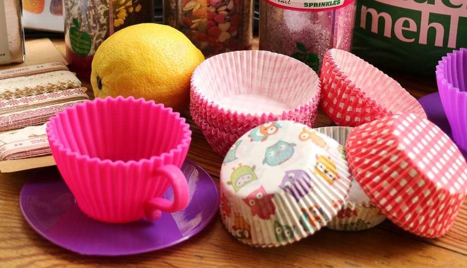 Cupcakes moulds and ingredients