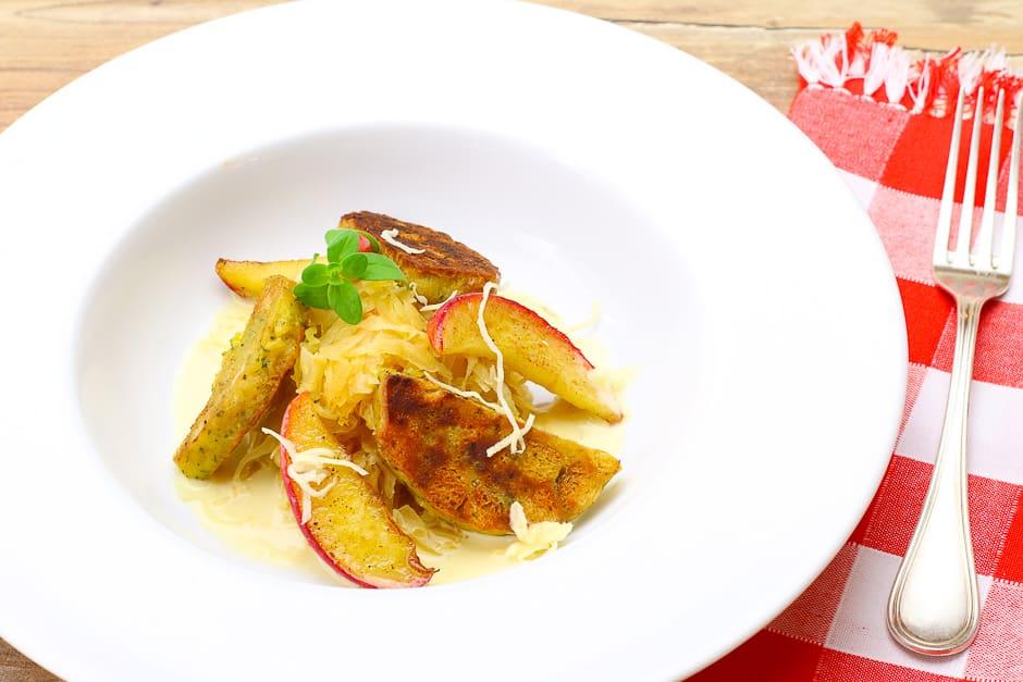 Bavarian Knödelgröstel - roasted dumplings gourmet variant with horseradish sauce.