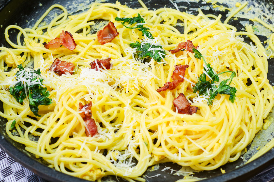 Spaghetti Carbonara photographed in a pan.