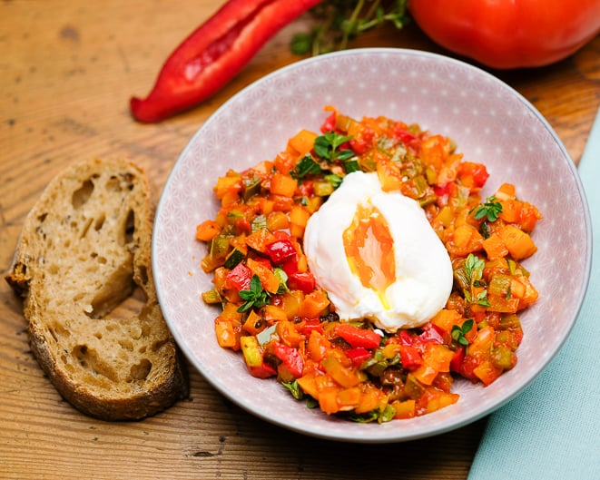 Poached Egg Recipe with Ratatouille Vegetables – Prepare Egg like a Star Chef – what is a blanched Egg?