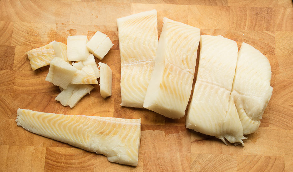 Halibut fillet during preparation.