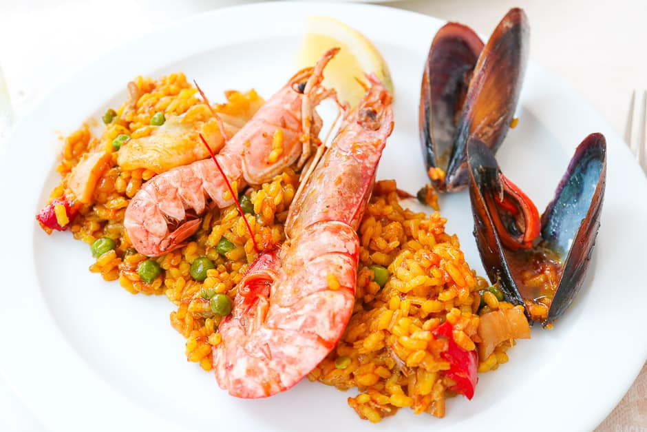 Paella served on the plate