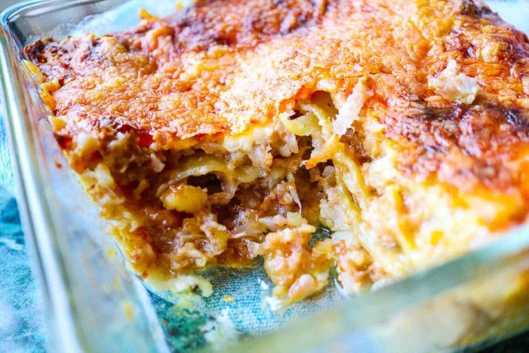 Nahaufnahme der Blumenkohl Lasagne