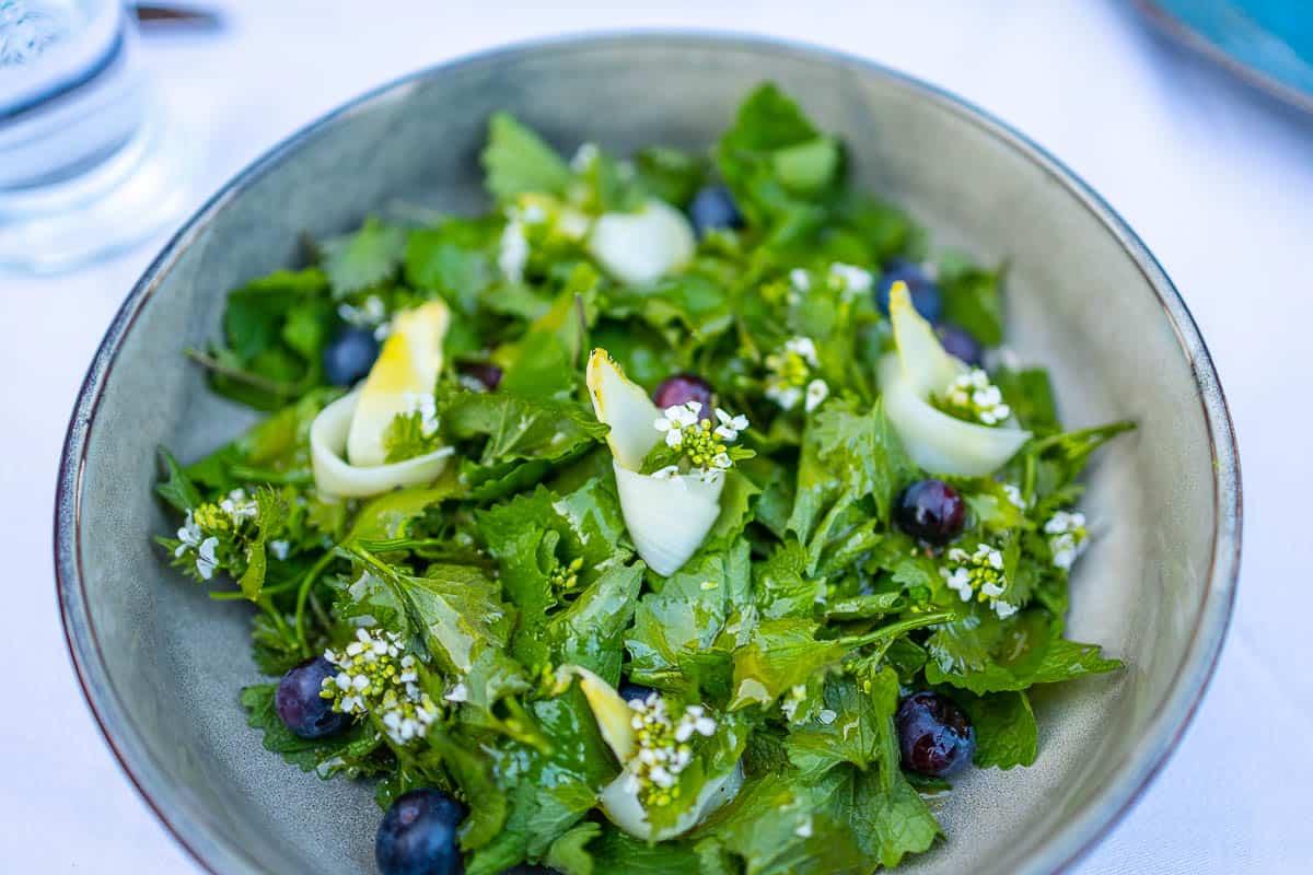Salat mit Knoblauchrauke, Rezept für einen feinen Wildkräutersalat mit Spargel zubereiten