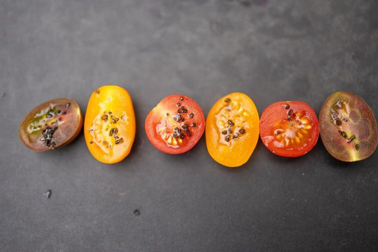Tomaten mit Black Lava Salz mariniert