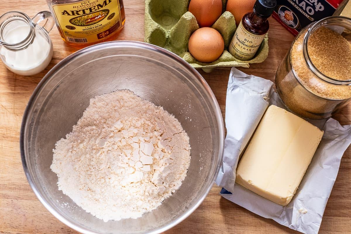 Marmorkuchen Zutaten