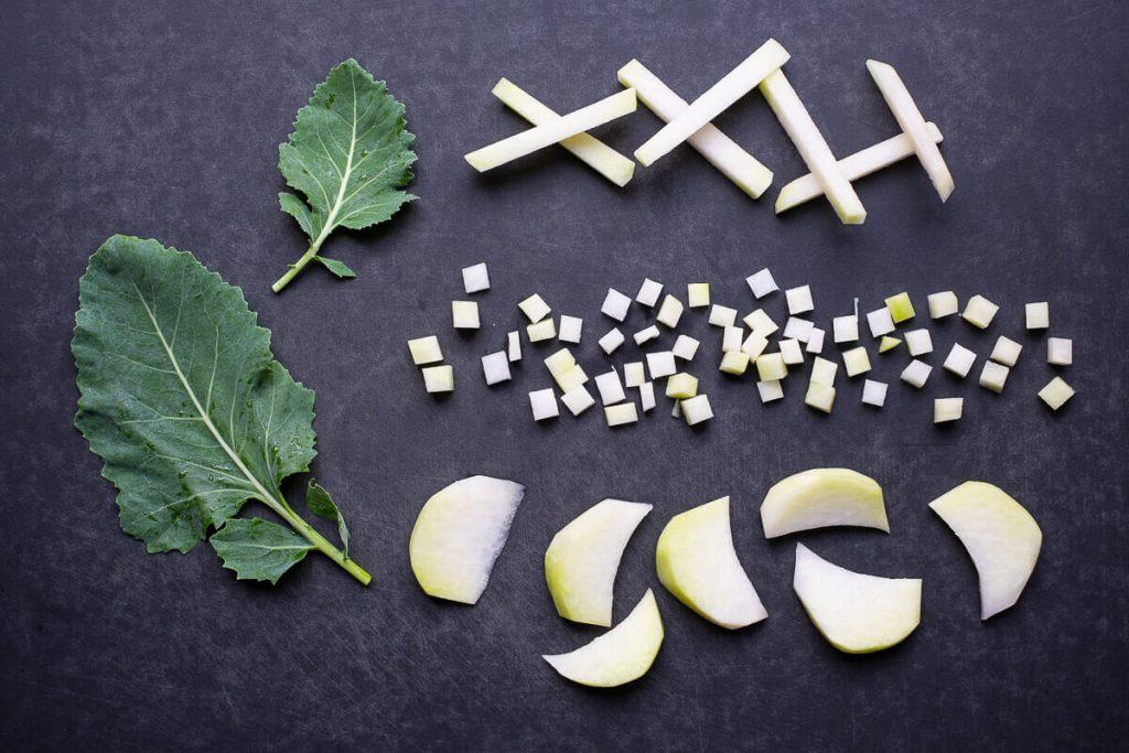 Kohlrabi geschnitten