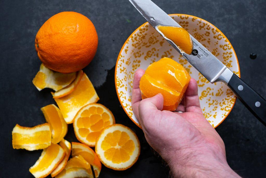 Orangenfilet ausschneiden