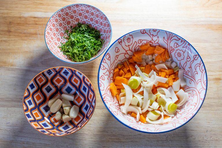 Gemüse vorbereitet