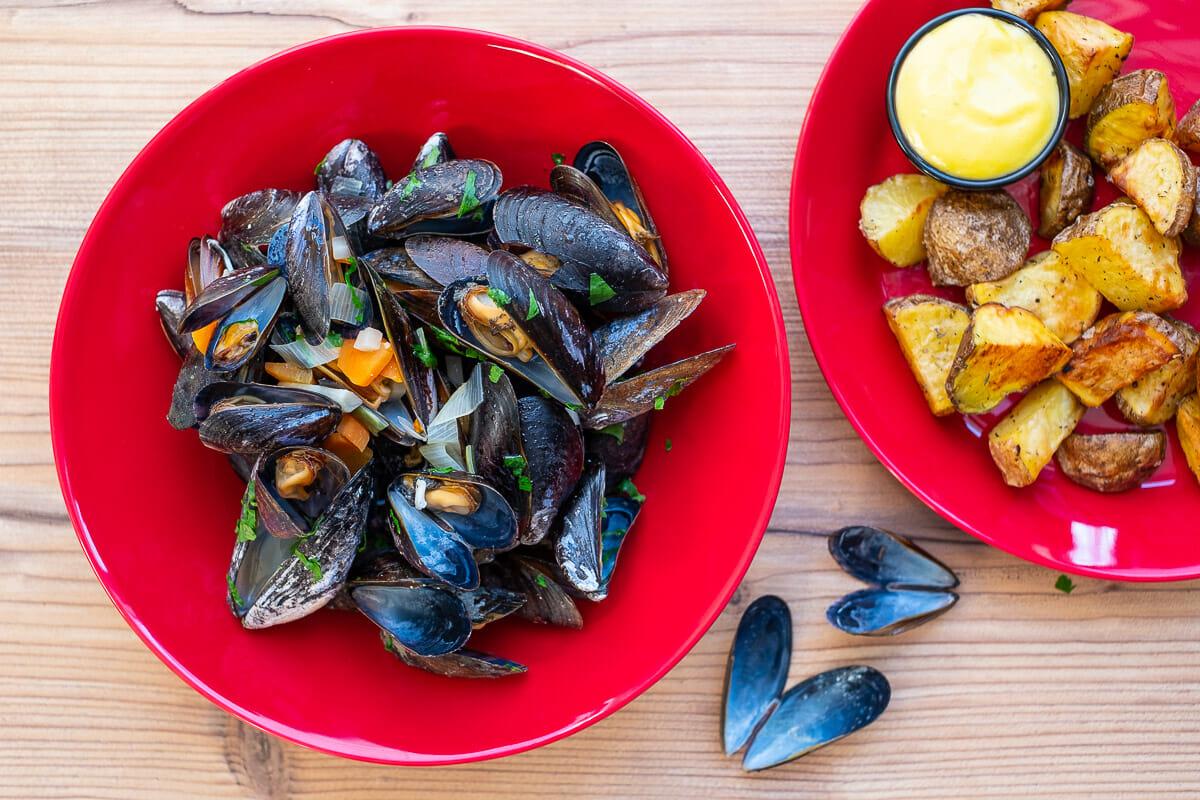 Moules Frites, mein Zuhause Rezept für Miesmuscheln belgische Art