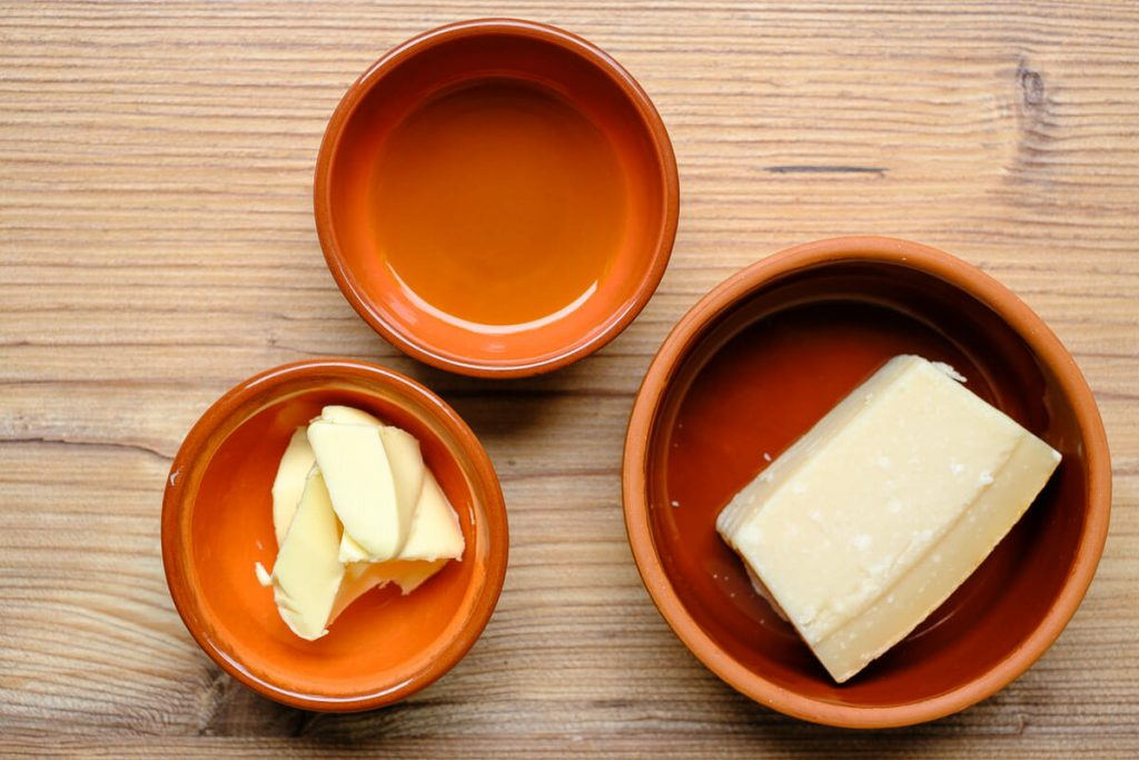 butter olivenöl parmesan